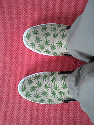 Shoes with hemp leaves - pattern - p300m1009044f by Albrecht Weißer