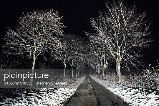 An empty country lane with road and trees covered in snow at night with car tracks in the snow. - p1057m1510555 by Stephen Shepherd