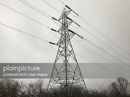 Electric pylon near London, UK - p1048m2016475 by Mark Wagner