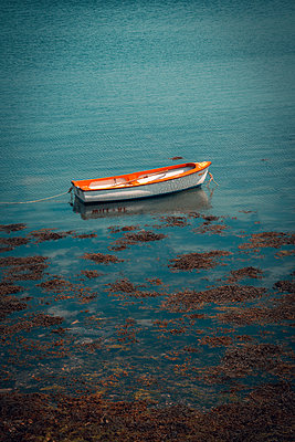 Moored rowing boat off the coast, Ireland - p1681m2283615 by Juan Alfonso Solis