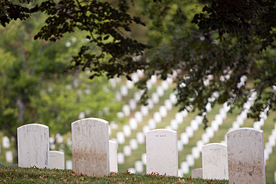White headstones overlooking military cemetery, Arlington, Virginia, United States - p555m1419852 by Jeff Greenough