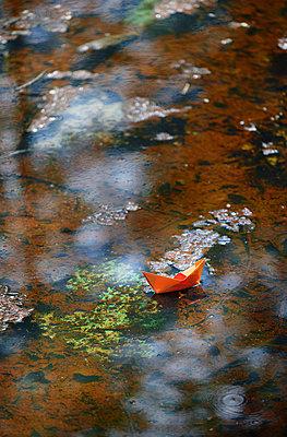 Paper boat floating on a lake - p1577m2272909 by zhenikeyev