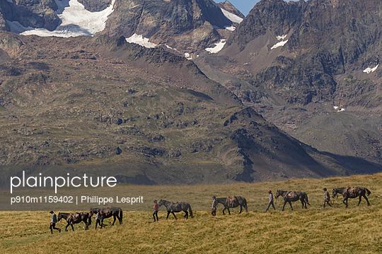 Plateau d'Emparis Ausflug mit Pferden - p910m1159402 von Philippe Lesprit