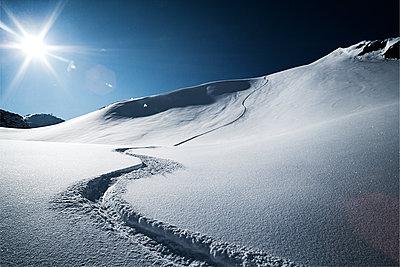Austria, Tyrol, Ischgl, ski tracks in powder snow - p300m1069016f by Bela Raba