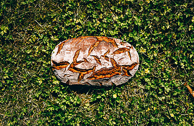 Loaf of brown bread on grass - p300m2030066 by Raffaele Mariotti