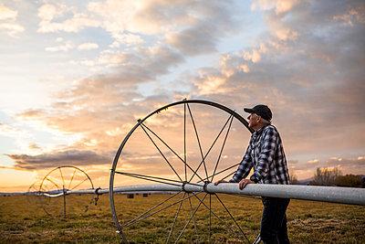 Senior man by farm sprinkler system - p1427m2067101 by Steve Smith