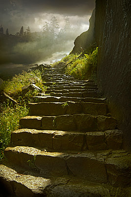 Stone steps on rural hillside - p555m1454215 by Chris Clor