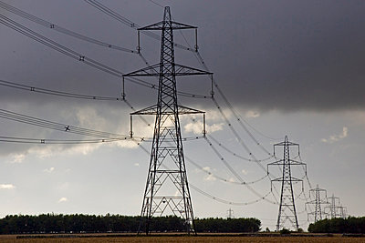 Electricity pylons in Cirencester, Gloucestershire, United Kingdom - p871m837892 by Tim Graham