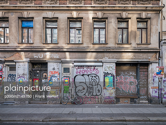 Unrestored dilapidated old building facades - p390m2149780 by Frank Herfort