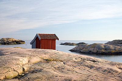 A boathouse by the sea Bohuslan Sweden. - p31220200f by Henrik Trygg