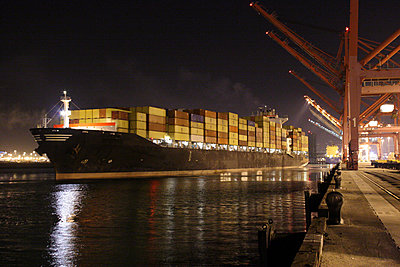Cargo containers on freighter in port - p555m1301670 by Tom Paiva Photography
