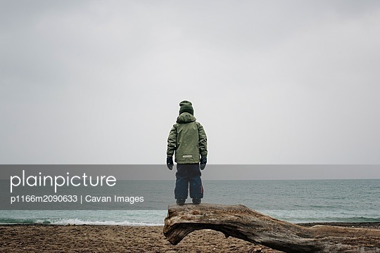 young boy aged 6 looking out to the sea standing on a log at the beach - p1166m2090633 by Cavan Images