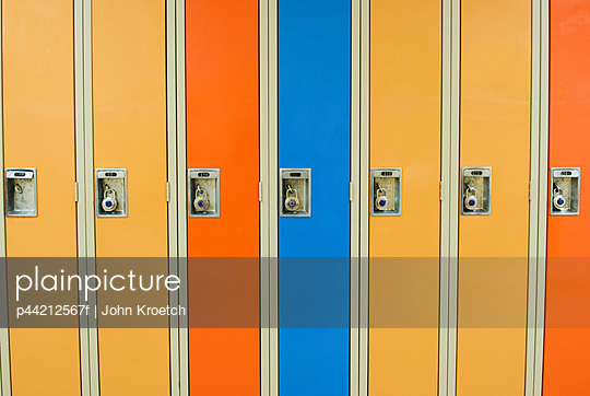 a row of lockers with combination locks; camrose, alberta, canada - p44212567f by John Kroetch