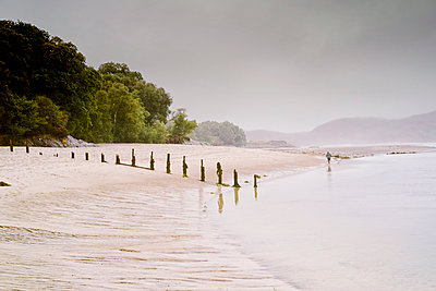 Landscape seascape water beach sand low tide foggy - p609m2066398 by WALSH photography