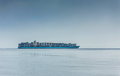 Spain, Andalusia, Tarifa, Strait of Gibraltar, Container ship - p300m949874f by Sebastian Kanzler