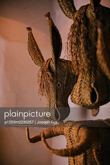 Spain, Animal heads made of wicker - p1253m2230257 by Joseph Fox