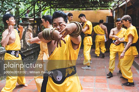 Vietnam, Hanoi, men exercising kung fu - p300m2013192 von William Perugini