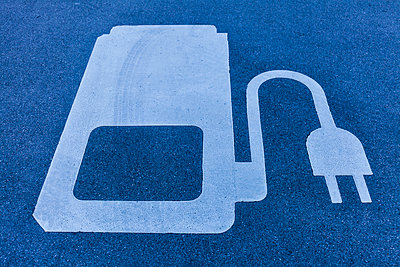 Electric Vehicle Charging Station symbol at the motorway - p300m2140757 by Tom Chance