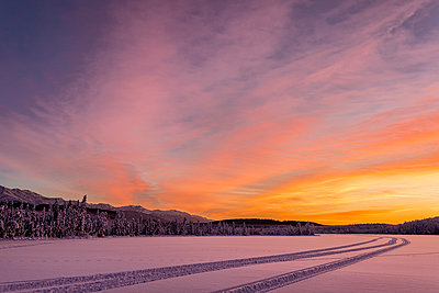Sunset light on Clunie Lake in winter, South-central Alaska; Alaska, United States of America - p442m1442340 by Ray Bulson