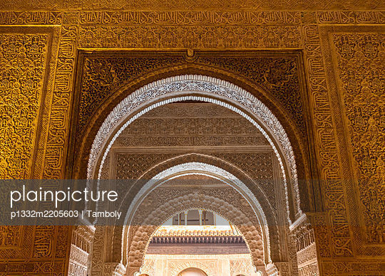 Spain, Details of the Alhambra palace in Granada - p1332m2205603 by Tamboly