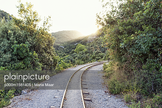 Greece, Pilion, Milies, rails of Narrow Gauge Railway - p300m1581405 von Maria Maar