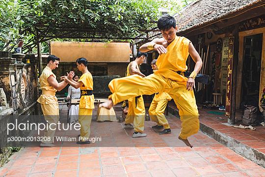 Vietnam, Hanoi, men exercising kung fu, jumping - p300m2013208 von William Perugini