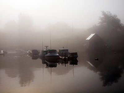 Morning Mist at Tancook Island  - p1072m828959 by Clive Branson