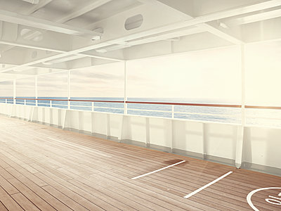 Deserted deck on cruise ship - p1342m1332722 by Sebastian Burgold