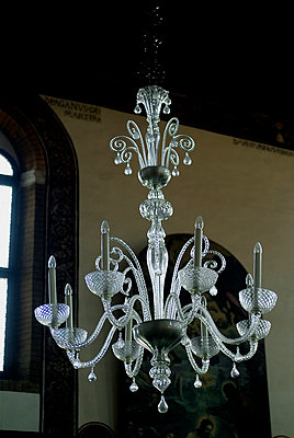 Chandelier hanging from a ceiling, Italy - p3485913 by Ture Westberg