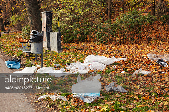 High angle view of plastic waste littered in park during autumn - p426m2213277 by Maskot