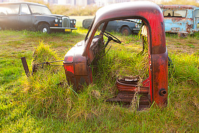 Front part of vintage car in scrap yard - p429m875758f by Zero Creatives