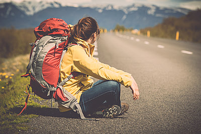 Beautiful Backpacker Tourist in Iceland - p1166m2201016 by Cavan Images