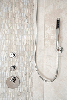 Tiled Shower and Shower Head - p5550786f by LOOK Photography