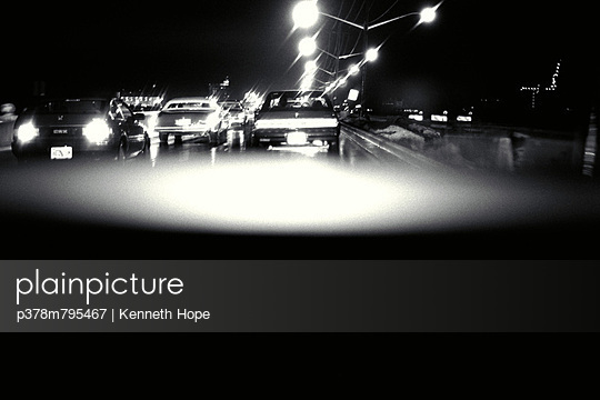 Traffic at night - p378m795467 by Kenneth Hope