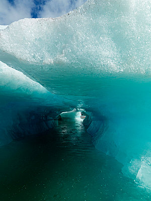 Iceberg and ice sculptures Vatnajokull Iceland. - p31221050f by Ingemar Lindewall