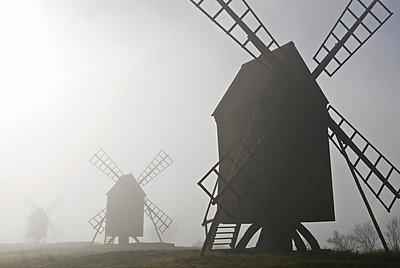 Three windmills in fog,OLAND,SWEDEN - p34810731 by Bengt Kallenberg