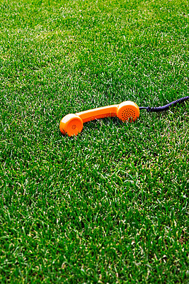 Orange telephone receiver in the meadow - p4320145 by mia takahara