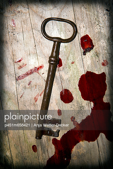 Key and blood - p451m658421 by Anja Weber-Decker
