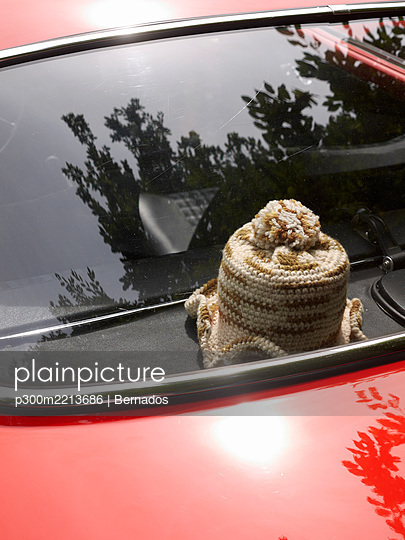 Germany, Hesse, Vintage car with crocheted roll of toilet - p300m2213686 by Bernados