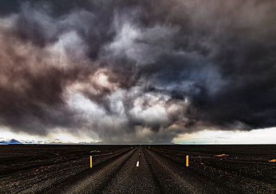Iceland, Highway 1, Snow storm and dark clouds - p300m1052832f by Scott Masterton