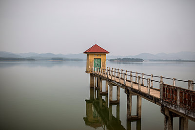 A boardwalk over Dai Lai Lake, in Vinh Phuc Province, Vietnam, Southeast Asia - p934m1071203 by Mathieu Arnaudet