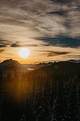 Sunset at the ski resort Marmot Basin in Jasper, Canada - p1455m2092361 by Ingmar Wein
