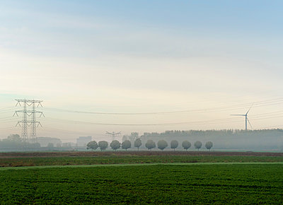 Landscape with wind turbine and power lines on a foggy morning, Netherlands - p429m2058251 by Mischa Keijser