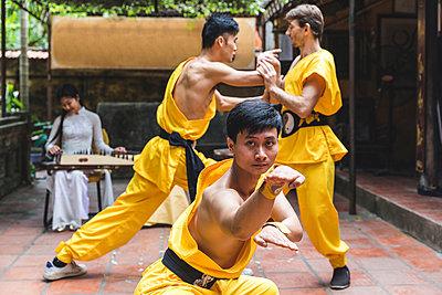 Vietnam, Hanoi, men exercising Kung Fu - p300m2013204 von William Perugini