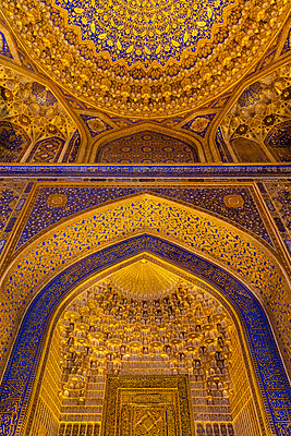 Cupola of Tilla Kari Madrasa, Registan ensemble, city of Samarkand - p590m2064899 by Philippe Dureuil