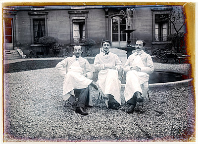 Vintage photograph, three men - p265m1487133 by Oote Boe