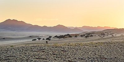 The sun starts to light up the distant mountains in the NamibRand Nature Reserve - p871m873397 by Lizzie Shepherd
