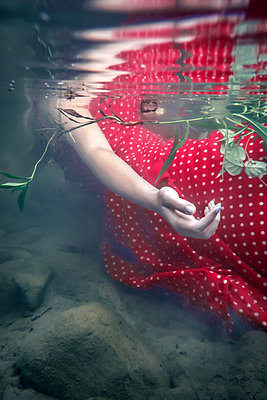 Girl In Red Dress in Stream - p1019m2100427 by Stephen Carroll