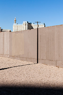 Pole shadow on a wall in Las Vegas  - p1094m1209103 by Patrick Strattner