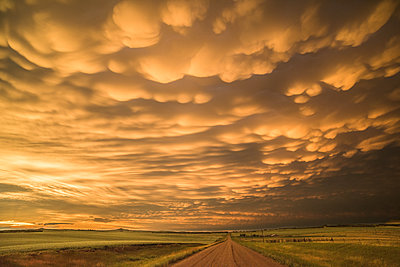 Mammatus clouds at sunset, Dickinson, North Dakota, USA - p429m1494502 by Jessica Moore